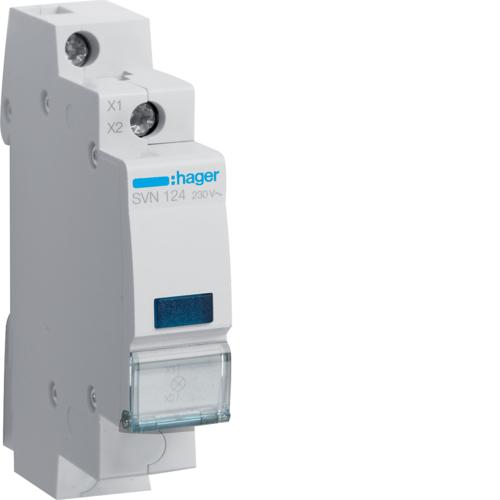Светодиодный индикатор, c синим фильтром,  230В АС, 1 М