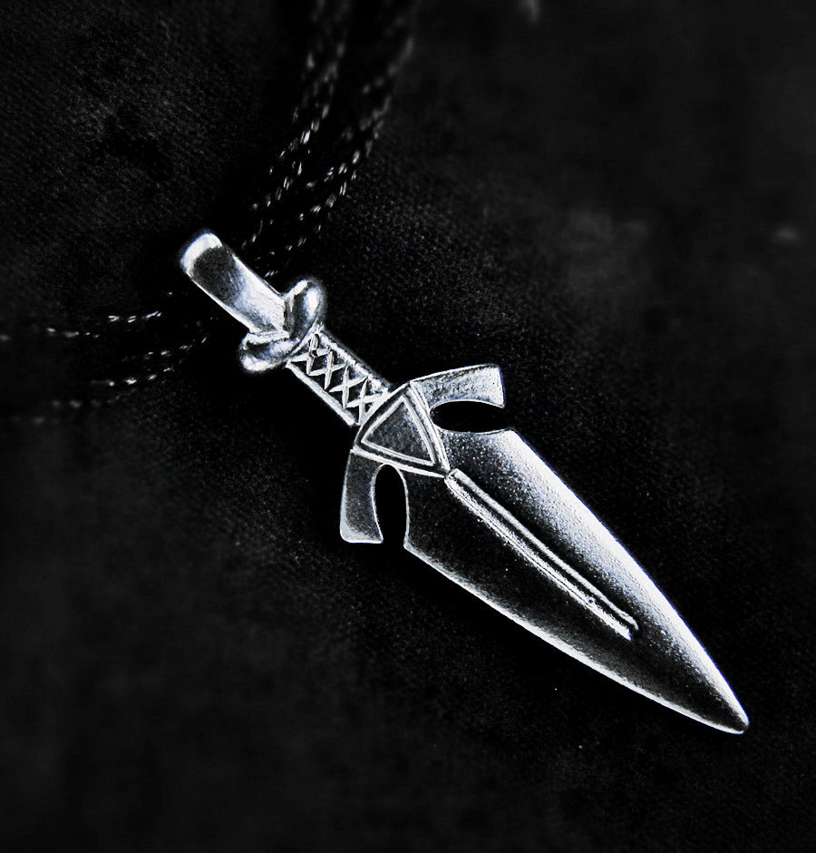 Sword pendant, sterling silver,