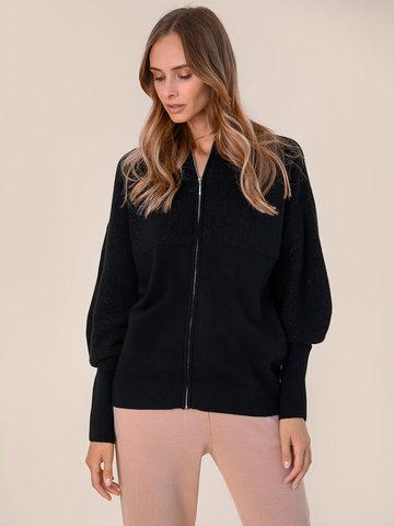 Женский джемпер на молнии черного цвета из шерсти и кашемира - фото 2