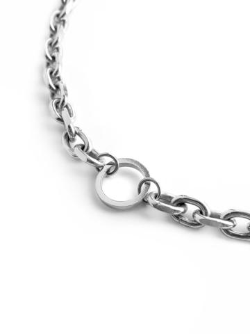 Серебрянное массивное колье чокер с кольцом