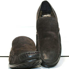 Кожаные туфли мокасины мужские зимние Welfare 555841 Dark Brown Nubuk & Fur.