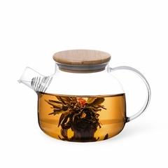 6536 FISSMAN Чайник заварочный 800мл с бамбуковой крышкой и стальным фильтром (стекло)