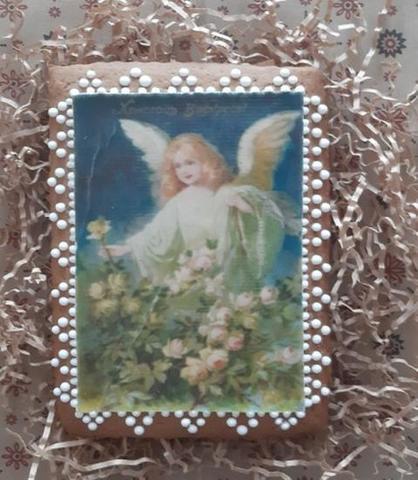 Пасхальный пряник-открытка Ангел в розах без глютена