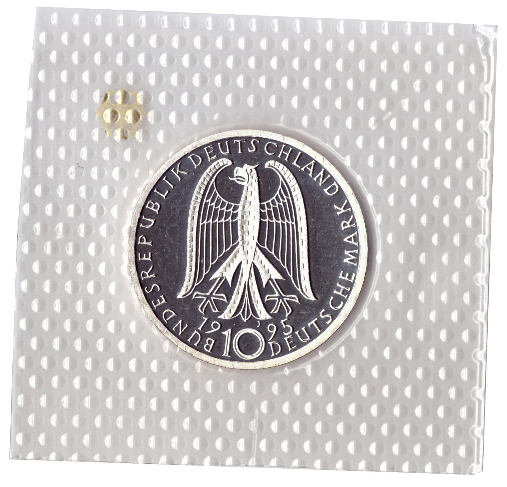 10 марок 1995 год (J) 50 лет со дня бомбардировки Дрездена (Мир и согласие), Германия. PROOF в родной запайке
