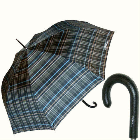 Большой зонт в серую клетку, шотландка