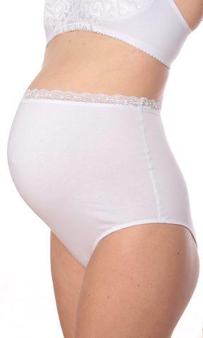 Euromama/Евромама. Трусы для беременных высокие с кружевом, белые вид 1