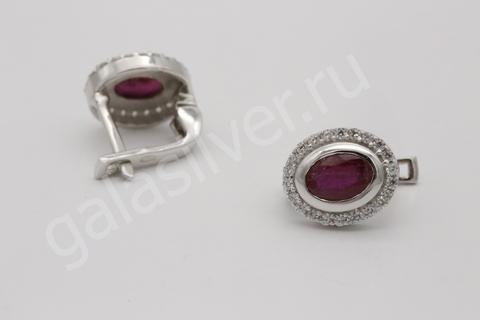 Серьги с рубином и фианитом из серебра 925