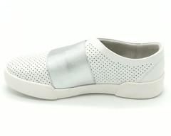Белые кожаные полуботинки с резинкой по подъему