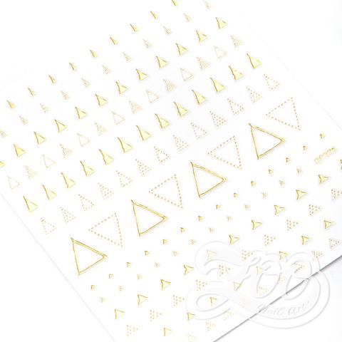1376 Наклейки металлизированные треугольники золото
