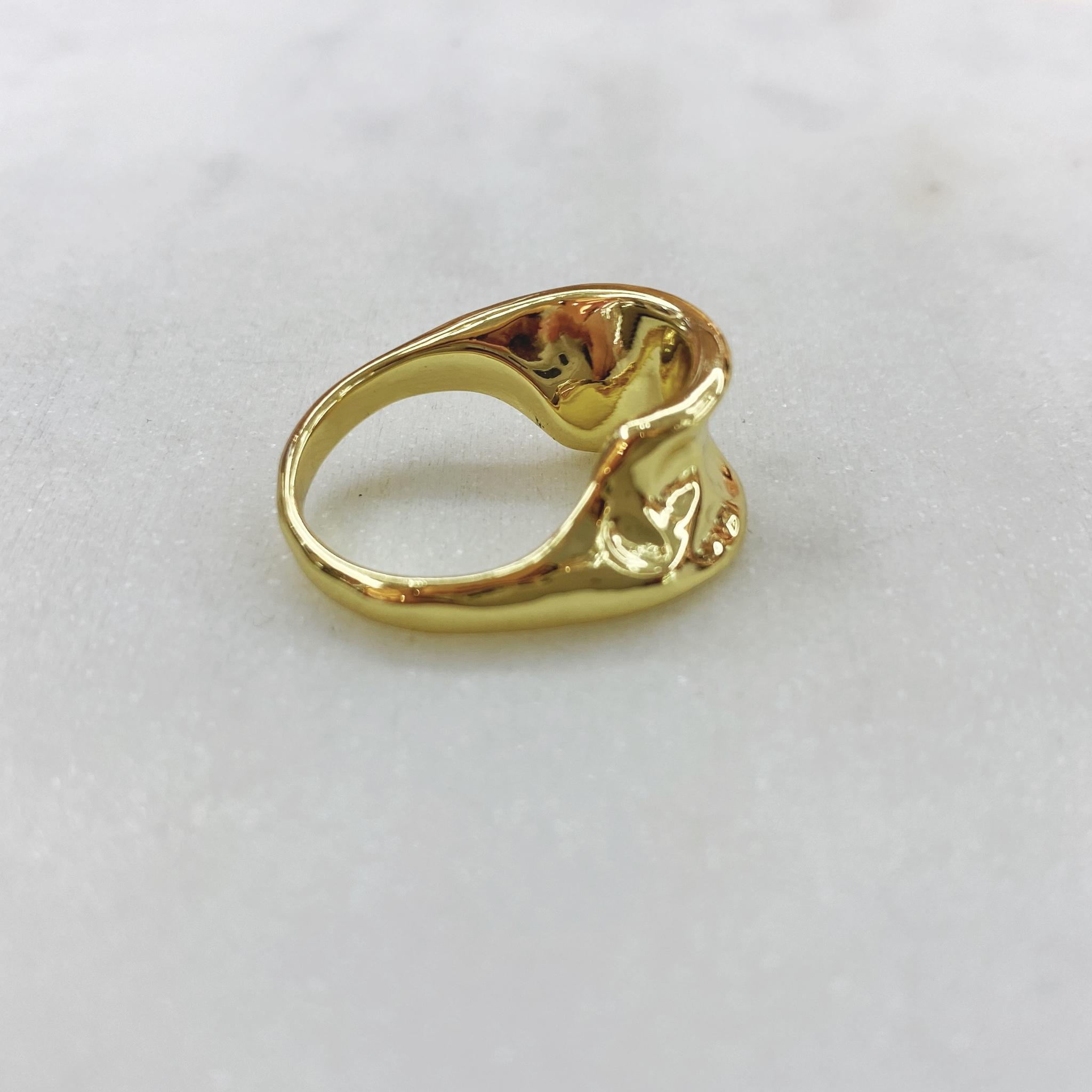 Кольцо фактурное мятое тонкое (золотистый)