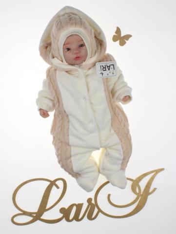 Велюровый комбинезон для новорожденных с вязкой Змейка (капучино)