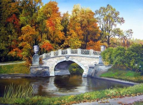 Картина раскраска по номерам 40x50 Белый каменный мост над рекой