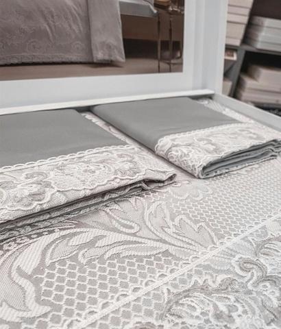 Постельное белье FAUSTA жаккард с кружевом серый TIVOLYO HOME Турция