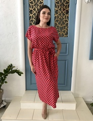 Алла. Платье міді великих розмірів. Корал
