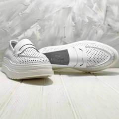 Модные кроссовки лоферы кожаные женские Derem 372-17 All White.