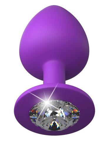 Фиолетовая анальная пробка со стразом Her Little Gem Large Plug - 9,5 см.