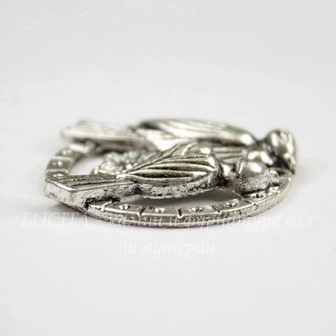 """Подвеска """" Пара птичек"""" 27 мм (цвет - античное серебро)"""