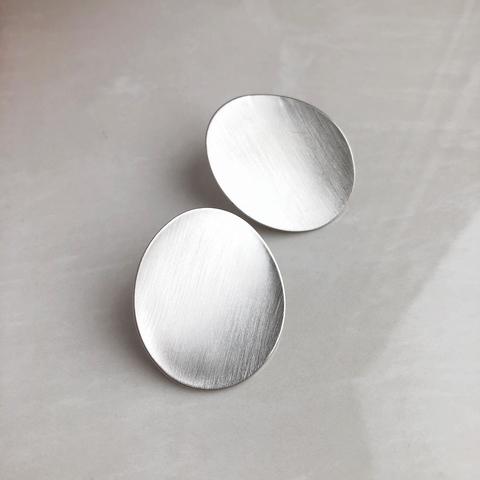 Серьги Плато, серебряный цвет