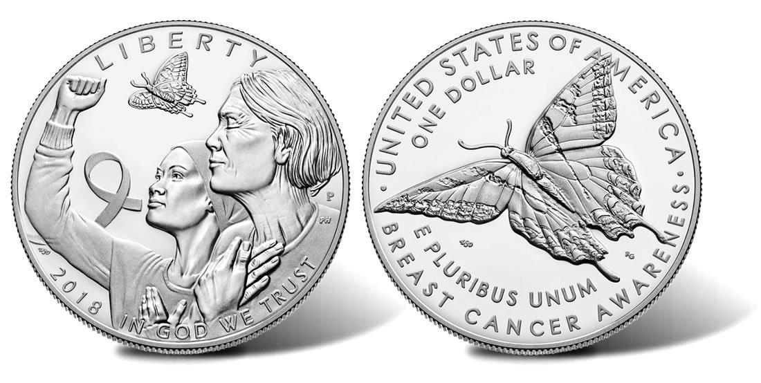 1 доллар 2018 год. Борьба с раком молочной железы Бабочка. США. Серебро PROOF