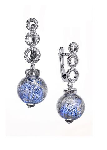 Серьги из муранского стекла со стразами Sandra Ca'D'oro Blue CC056OB
