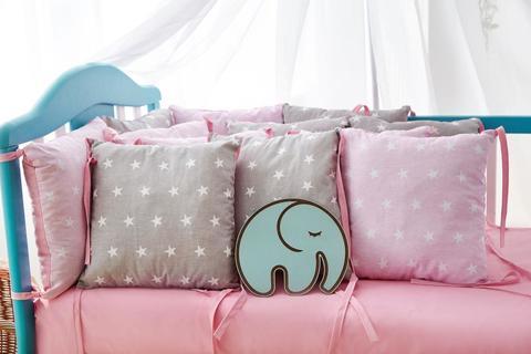 Защита в кроватку от комплекта Облачко 12 шт 03-05-01 Для девочек серо-розовый