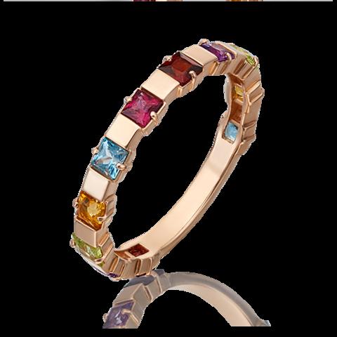 01-5321-00-252-1110-57 -Кольцо-дорожка  из золота с миксом полудрагоценных камней