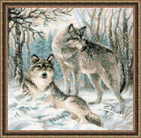 Набор для вышивания крестом «Волчья пара» (1393)