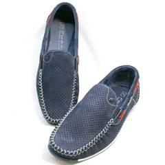 Летние туфли стиль смарт кэжуал мужские Faber 142213-7 Navy Blue.