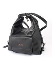 Сумка-рюкзак черного цвета с накладным карманом