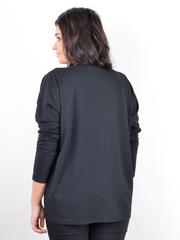 Сангрія. Жіноча кофта з шкіряними вставками size plus. Чорний.