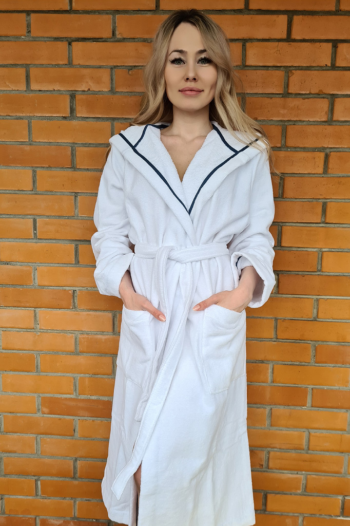 Белый махровый халат с капюшоном Luna di Giorno
