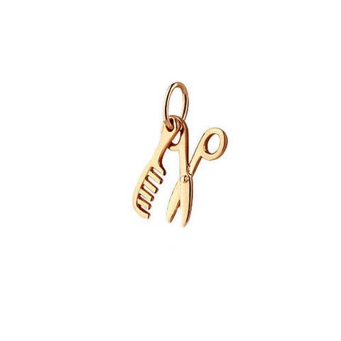 13477- Подвеска расческа+ ножницы из золота 585 пробы