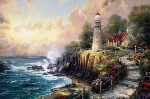Картина раскраска по номерам 40x50 Дом с маяком на берегу