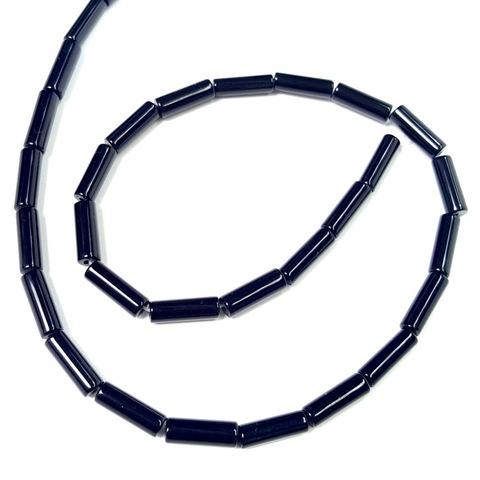 Бусины агат черный Трубочка 13 х 4,3 мм