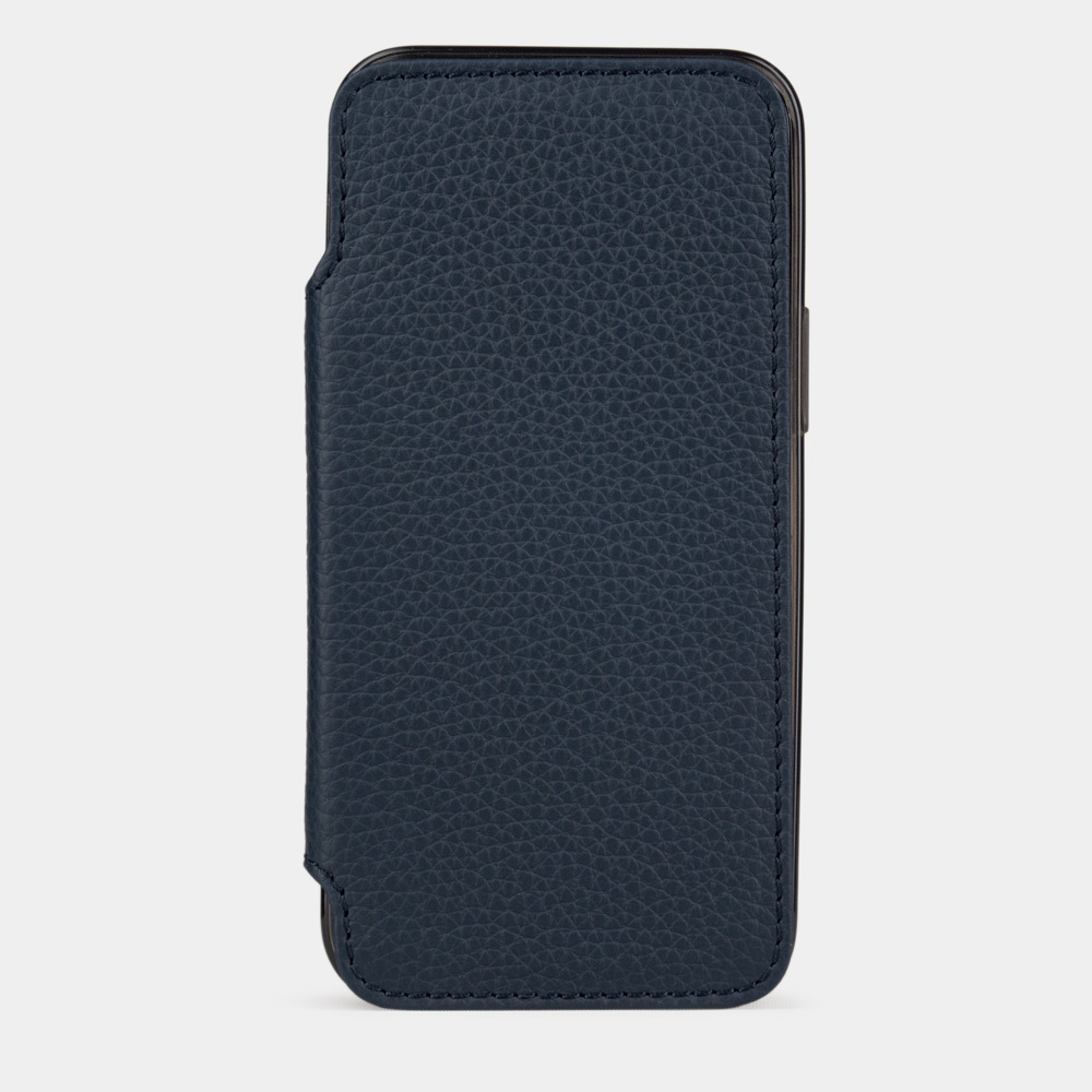 Чехол Benoit для iPhone 12 Mini из натуральной кожи теленка, цвета синий мат