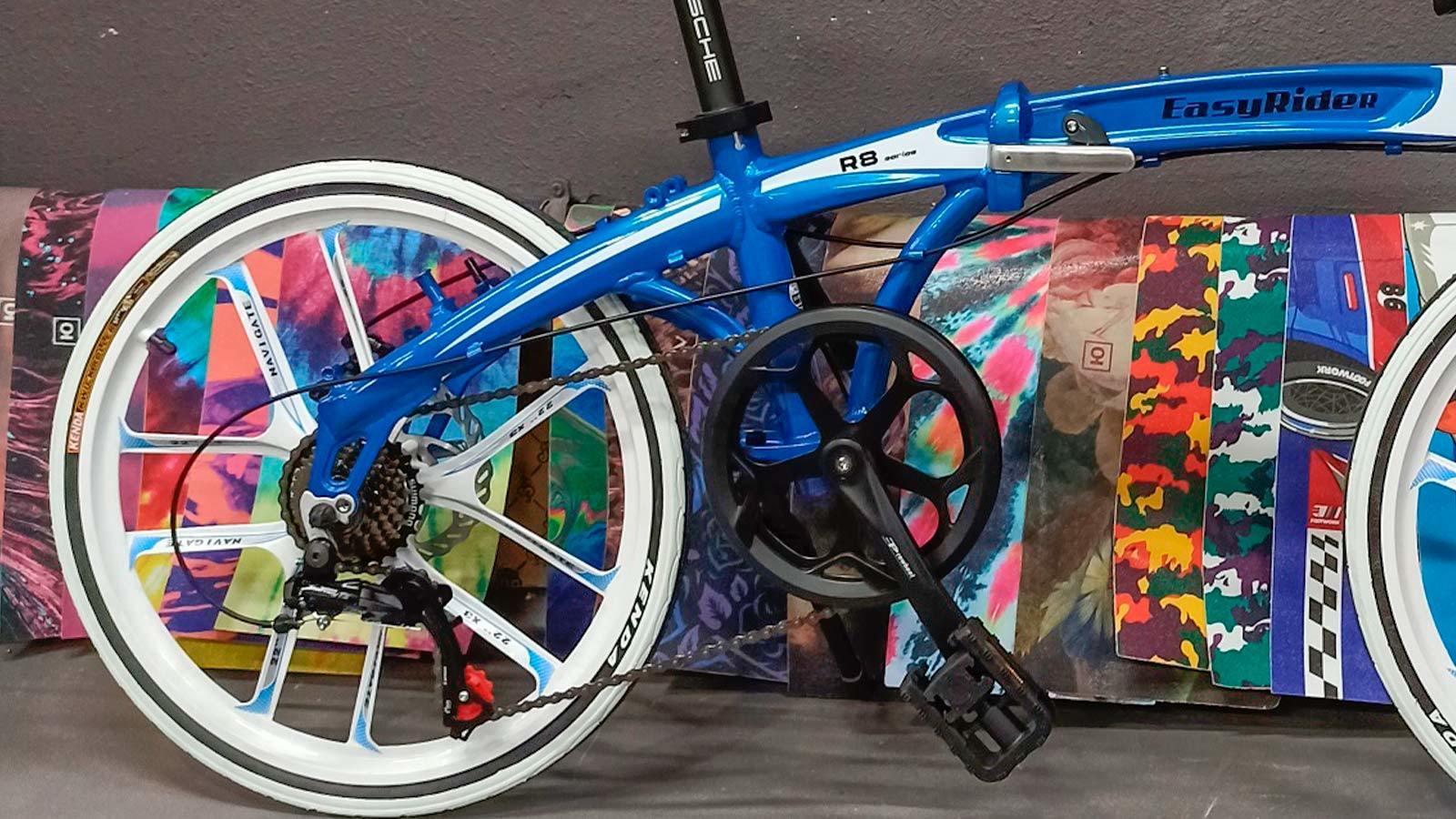 компактный велосипед складной синий педаль колесо