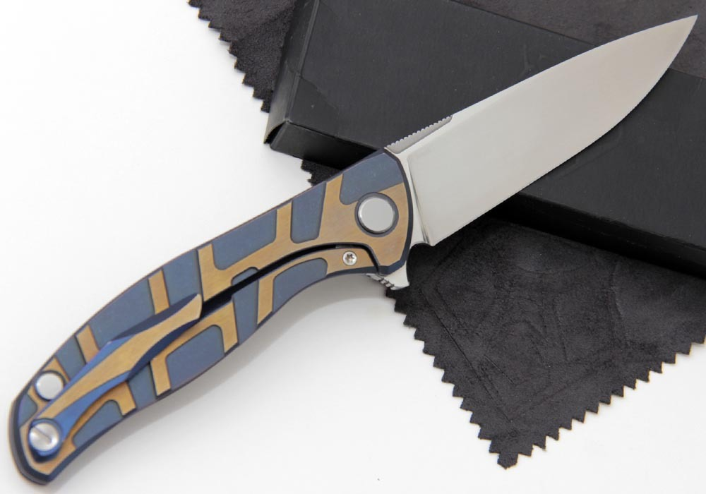 Нож Широгоров Флиппер 95 Elmax Т узор сатин КАСТОМ - фотография