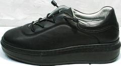 Женские кожаные кроссовки на высокой подошве черные Rozen M-520 All Black.
