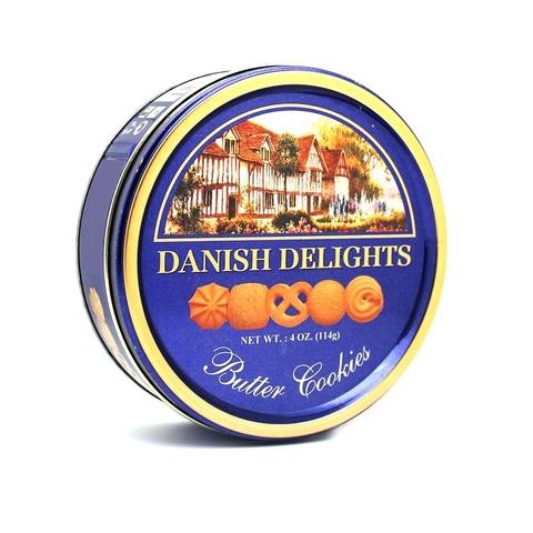 DANISH DELIGHTS Butter Cookies Датское печеньице на сливочном маслице, Жестяная банка  1кор*4бл*6шт 114гр