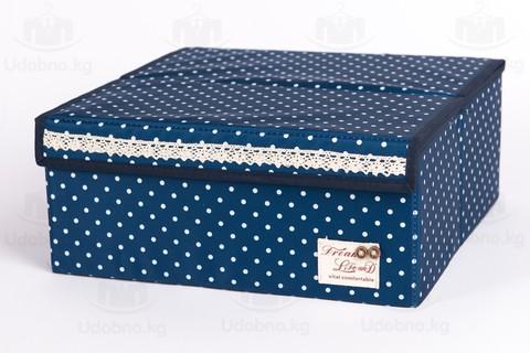 Складной органайзер для бюстгальтеров, 6 ячеек, 32*32*14 см (темно-синий в горошек)