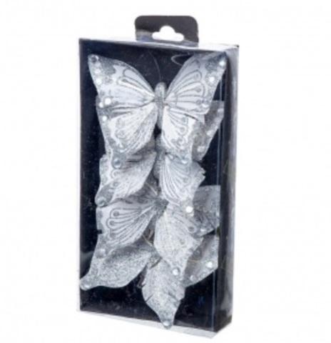 Набор бабочек с глиттером на прищепках 4шт., 10см, цвет: серебро