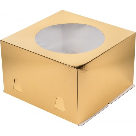Коробка для торта с окном, 30*30*19см (золото)