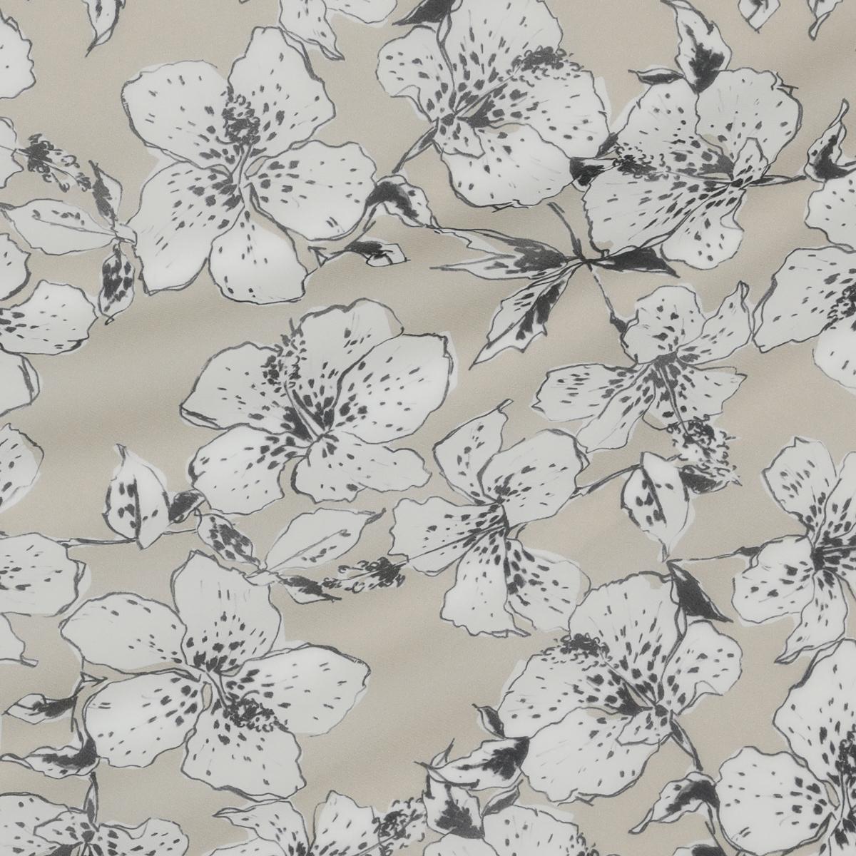 Полупрозрачный шёлковый стретч-крепдешин с цветами гибискуса на кофейном