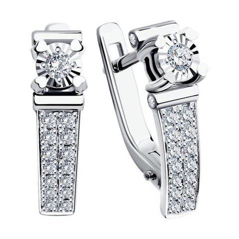 1020743 - Серьги из белого золота с бриллиантами на английском замке