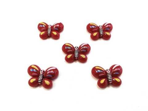 Кабошон бабочка-красная, 16х22мм. в 1уп 5шт. (2124)