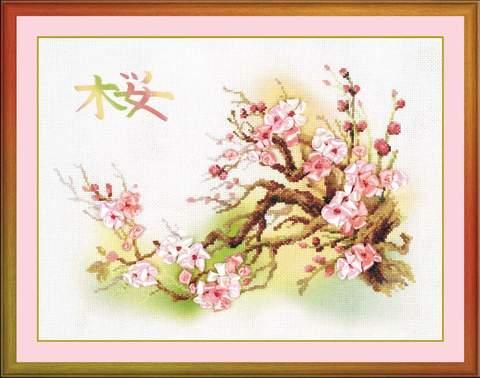 Набор для вышивания крестом «Ветка сакуры» (0029 РТ)