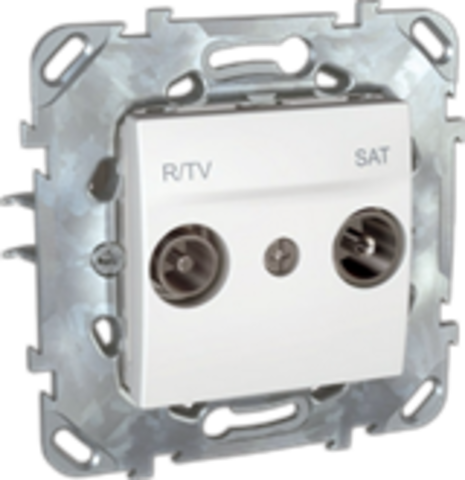 Розетка R-TV/SAT проходная. Цвет Белый. Schneider electric Unica. MGU5.456.18ZD