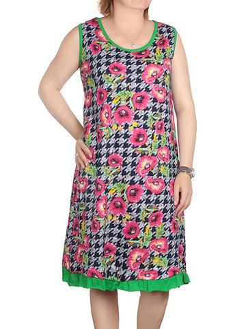 42884-14 Сарафан женский черно-зеленый