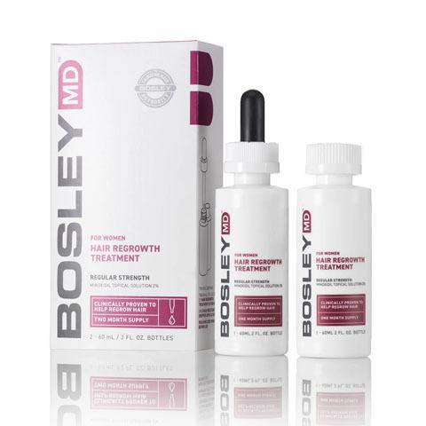 Bosley MD Hair Regrowth: Усилитель роста  волос  для женщин  2%  (For Women Hair Regrowth Treatment 2%), 60мл*2