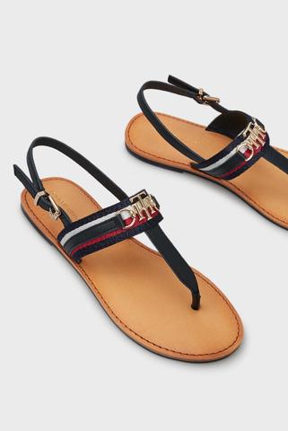 Женские черные кожаные сандалии SHIMMERY RIBBON FLAT SANDAL Tommy Hilfiger